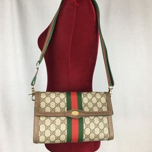Vintage GUCCI GG Color Web Flap Pouch with Strap